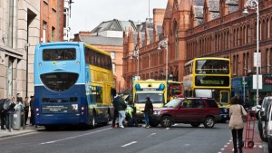 Bus, Car and Bike Accident in Dublin