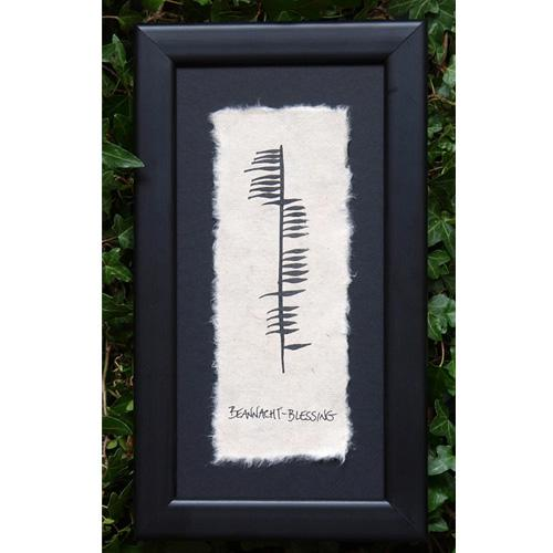 """Beannacht"" means Blessing in Ogham, an Ancient form of Irish Writing"