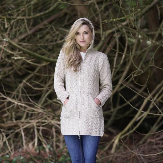 Aran Sweater Zip up Coat