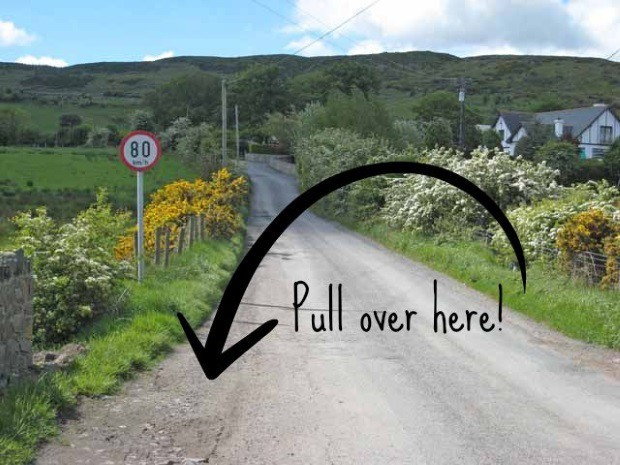 A pull off area on an Irish Road.