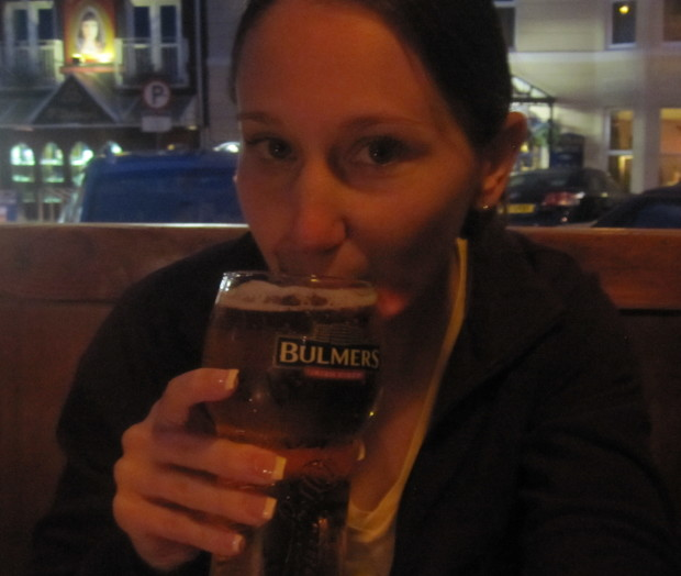 Drinking a pint of Bulmers