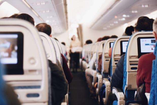 Aisle of an airplane