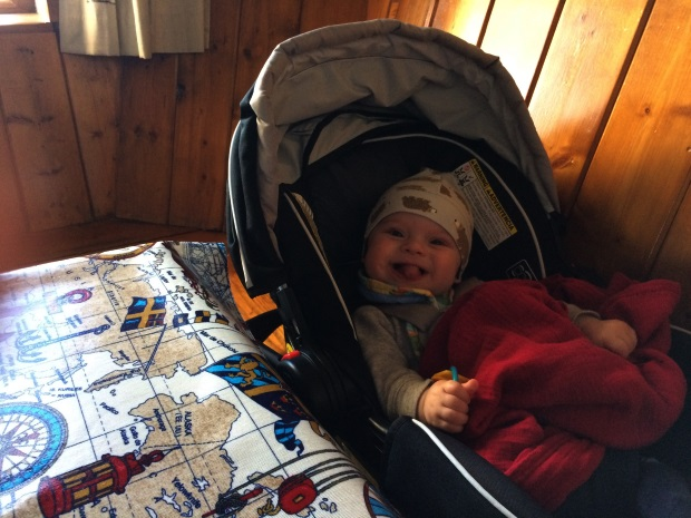 Traveling to Ireland with a baby car seat in a pub