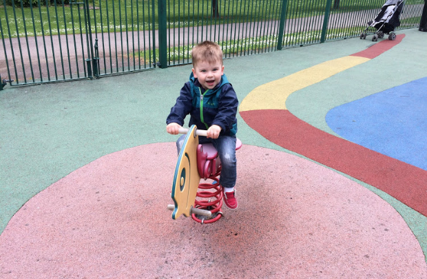 Traveling to Ireland with a Toddler; boy on playground