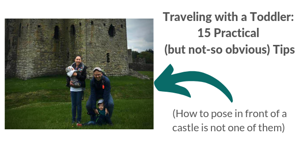 Traveling to Ireland with a toddler; Family in front of castle