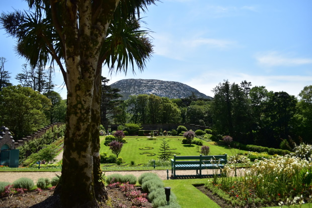 Pristine Gardens at Kylemore Abbey with Mountain in Background