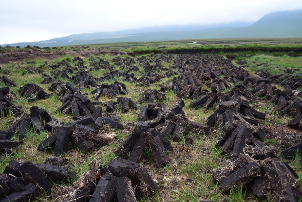 Peat drying on the bog in Ireland