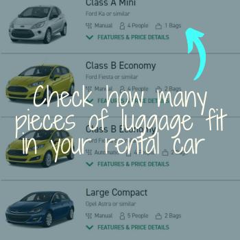 Car rental web search result list