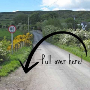 Irish country road with pull off