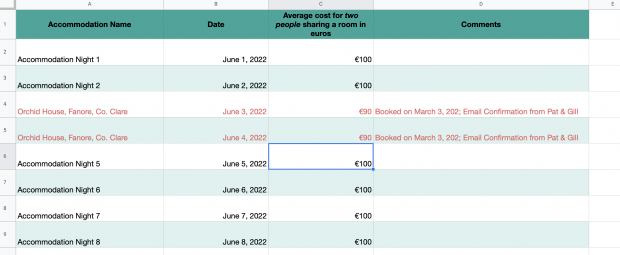 Budget for Ireland Template